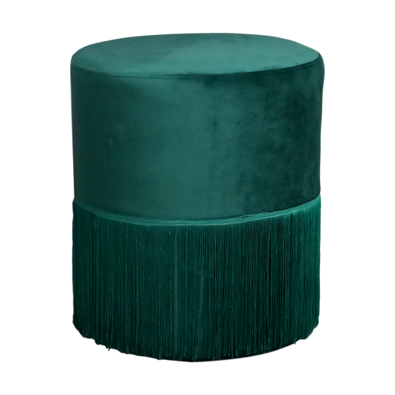 Velvet Fringe Stool Evergreen