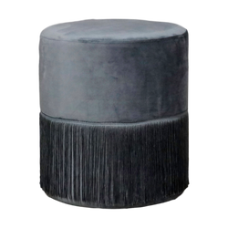 Velvet Fringe Stool Grey