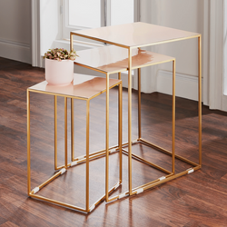 Set of 3 Gold Pearl Nest Tables