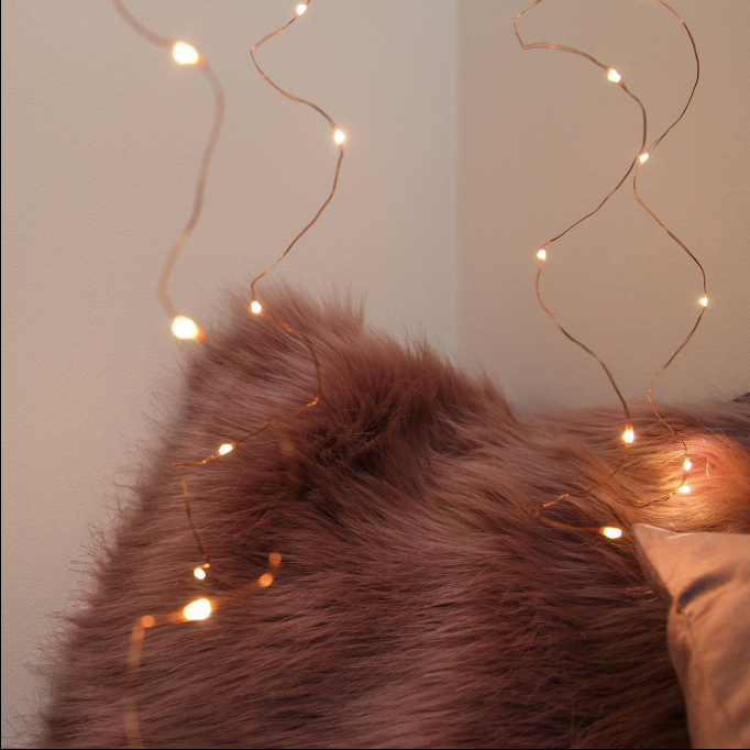 Copper Micro Fairy Light Curtain 1M
