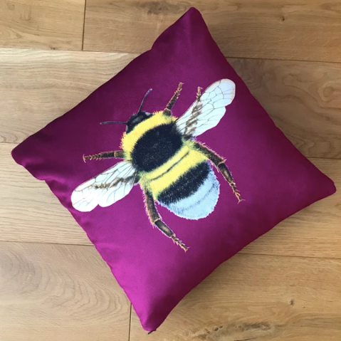 Handmade Velvet Chenille Bee Cushion Plum Punch