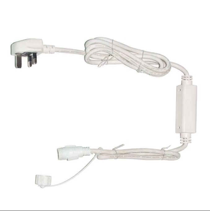 White Rubber Power Plug Cable
