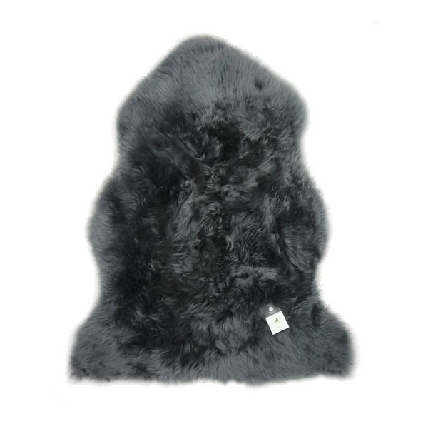 Sheepskin Throw Rug Dark Grey