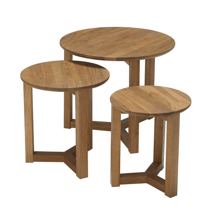 Set of 3 Scandi Oak Nest Side Tables