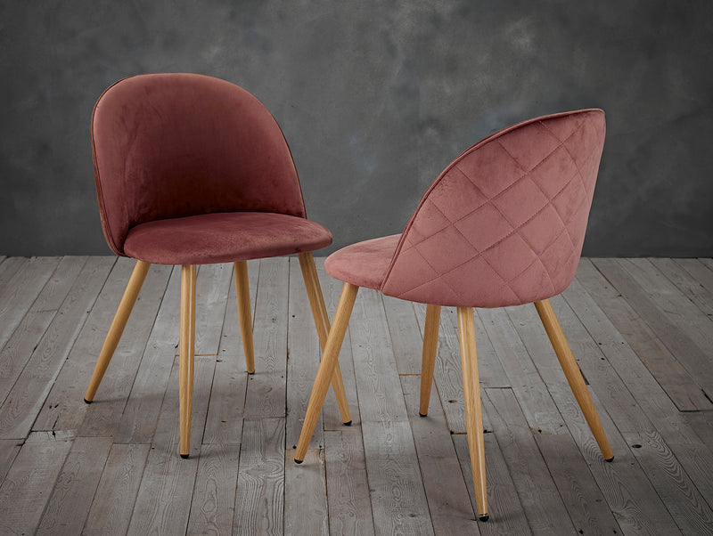 Set of 2 Velvet Curved Dining Chairs Blush