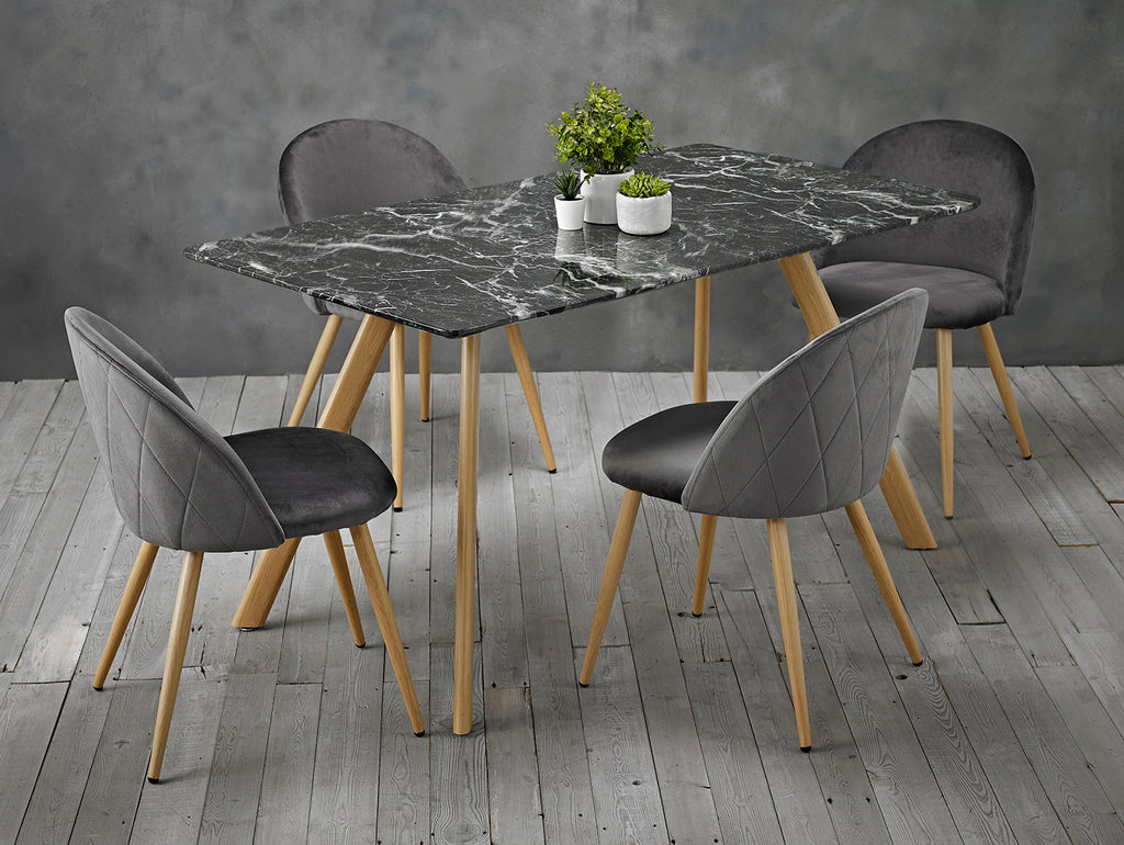 Set of 2 Velvet Curved Dining Chairs Grey