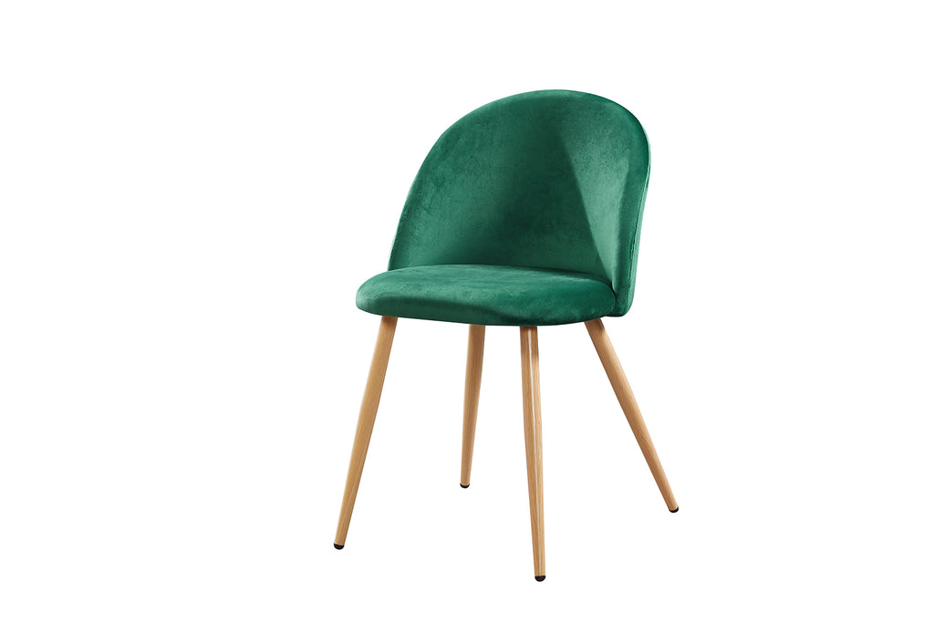 Set of 2 Velvet Curved Dining Chairs Green