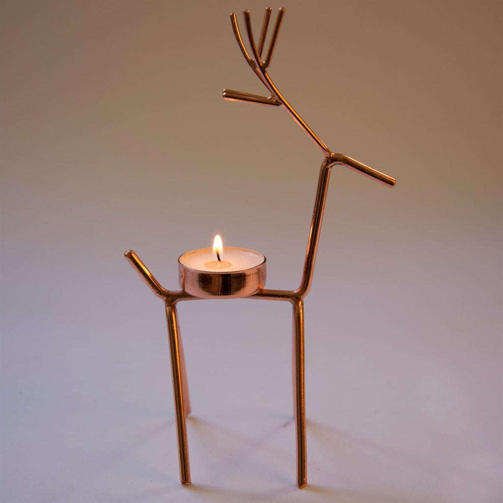 Copper Reindeer Tea Light Holder