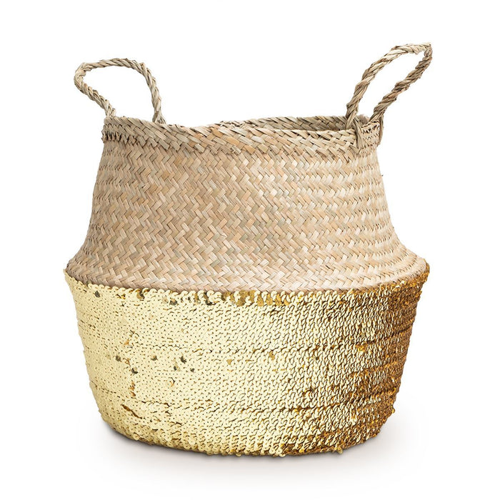Seagrass Basket Gold Sequin Large