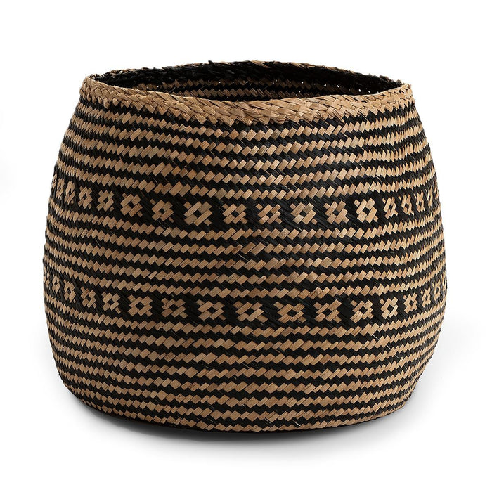 Seagrass Basket Black Wide Small