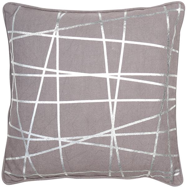 Charcoal Geometric Cushion Filled