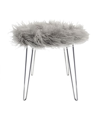Hairpin Fur Stool Grey