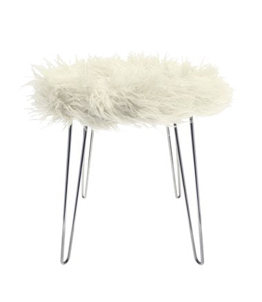 Hairpin Fur Stool White