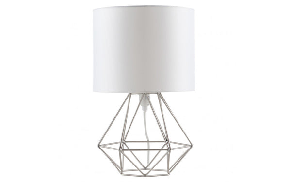 Geo Belly Table Lamp Satin White