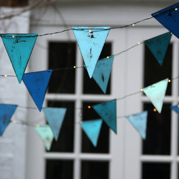 Handmade Metal Bunting Lights Blue