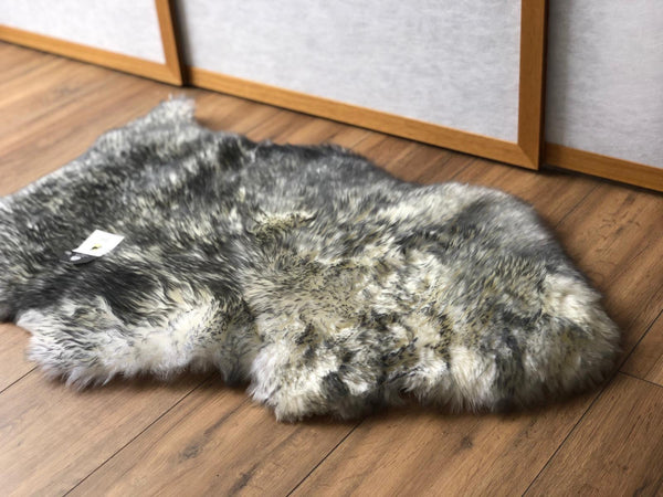 Sheepskin Throw Rug Grey Tip