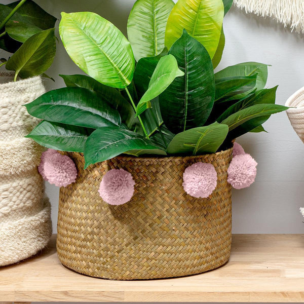 Pom Pom Seagrass Basket Blush