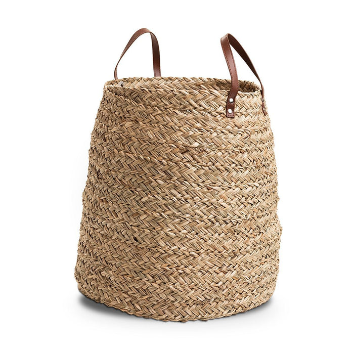 Seagrass Leather Laundry Basket