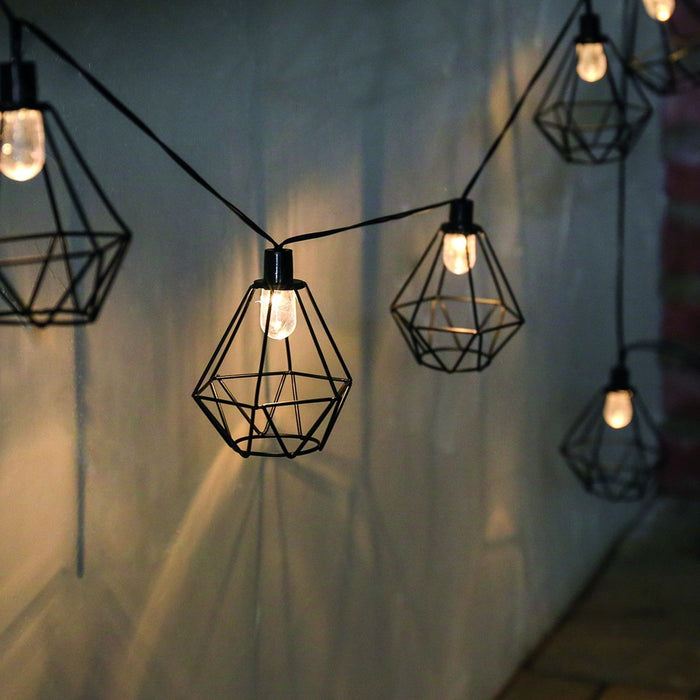 Solar Geo Cage String Lights