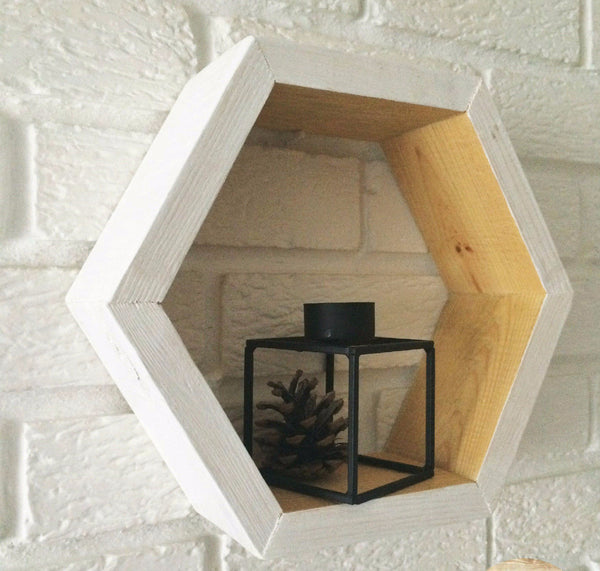 Hexagon Shelf Pine White/Natural