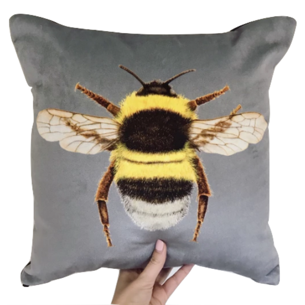 Handmade Velvet Chenille Bee Cushion Grey