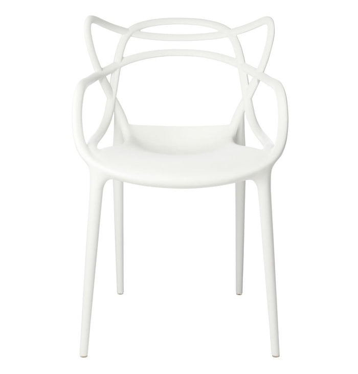 Set of 4 Masters Style Chairs White
