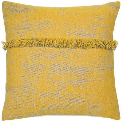 Mustard Fringe Cushion Filled