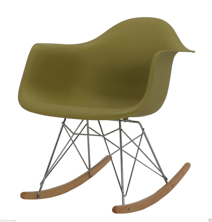 Rocking Eames Style Tub Chair Olive