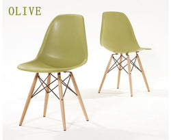 Eames Style Wooden Chair Olive