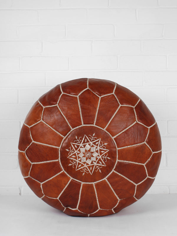 Moroccan Leather Pouffe Chestnut Stuffed