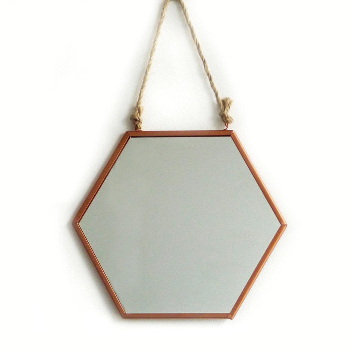 Copper Hexagon Mirror Small