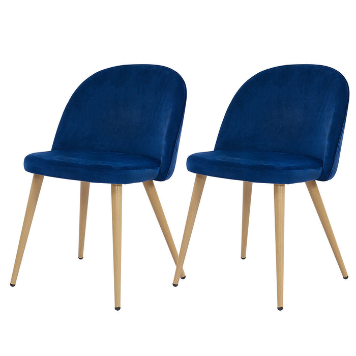 Set of 2 Velvet & Wood Dining Chairs Navy