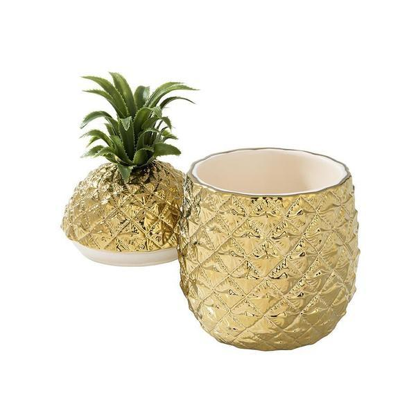 Gold Pineapple Ceramic Bucket