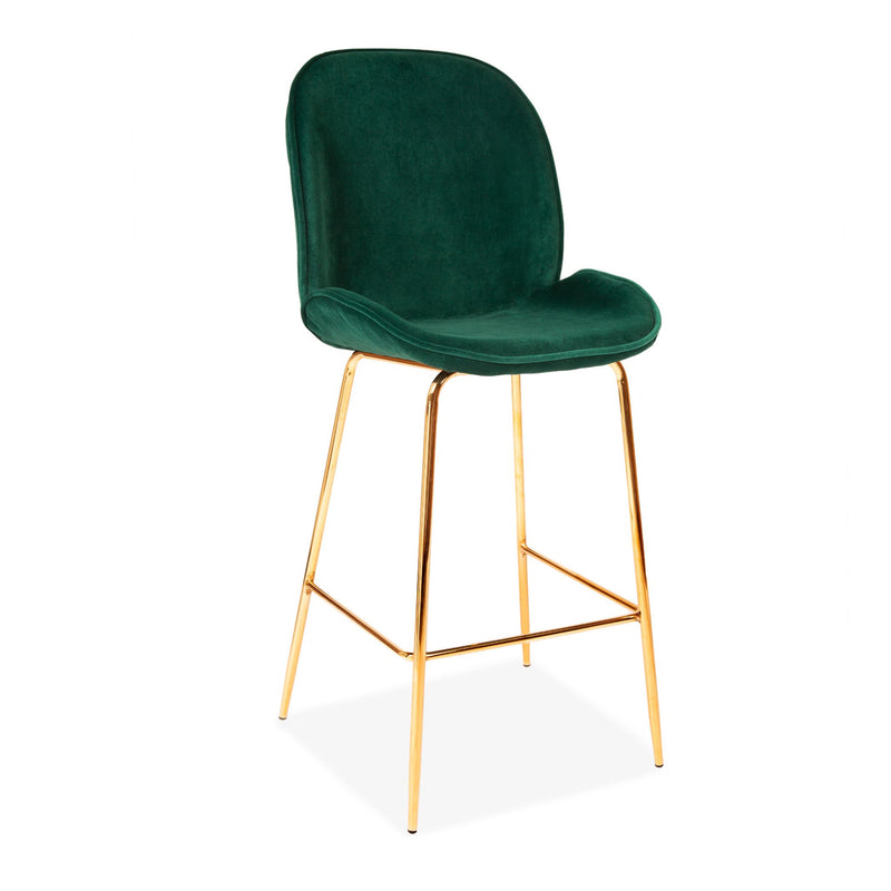 Set of 2 Velvet Clam Bar Stools Gold & Pine Green