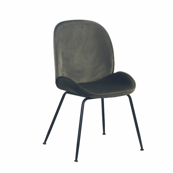 Set of 2 Velvet Clam Chairs Black & Olive