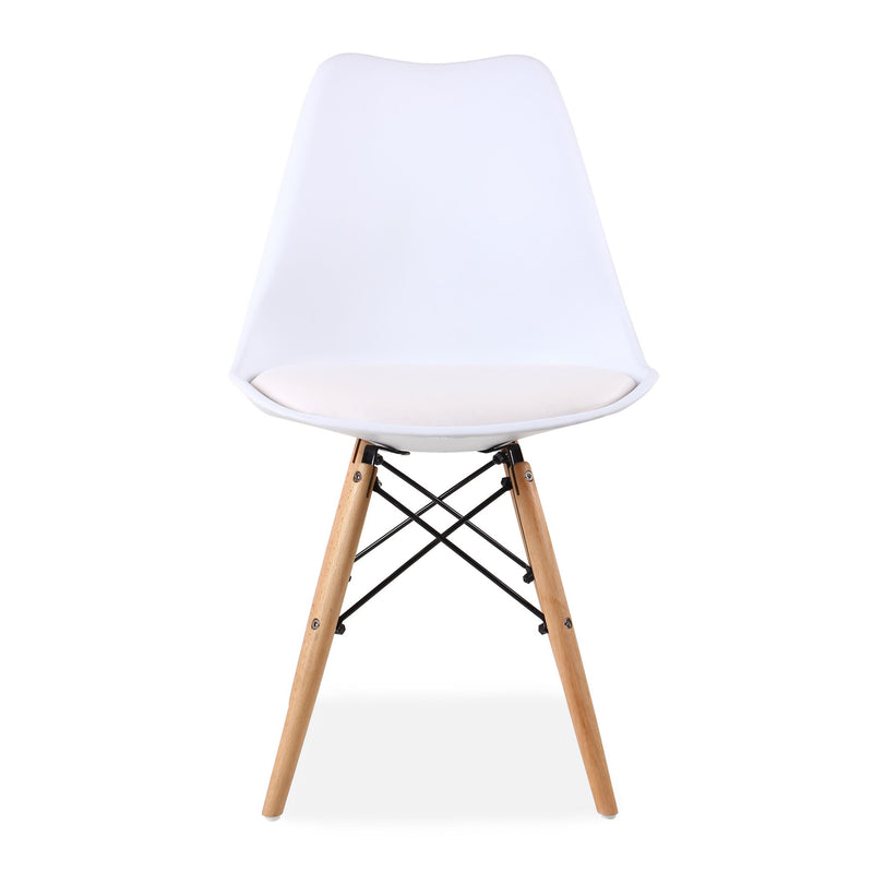 Set of 4 Eames Style Chairs White Cushioned