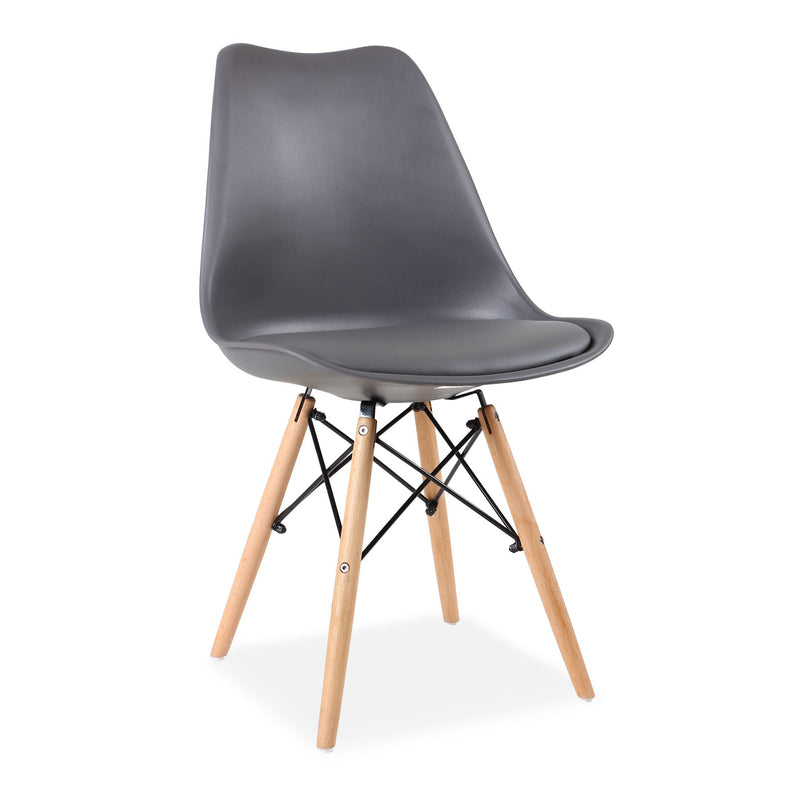 Set of 4 Eames Style Chairs Dark Grey Cushioned