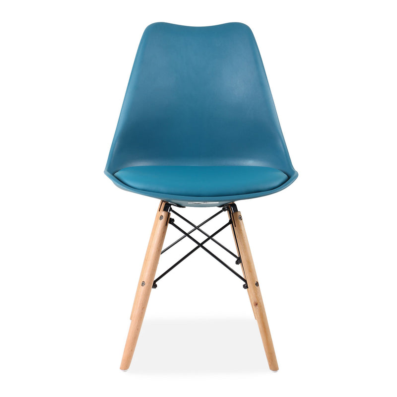 Set of 4 Eames Style Chairs Teal Cushioned