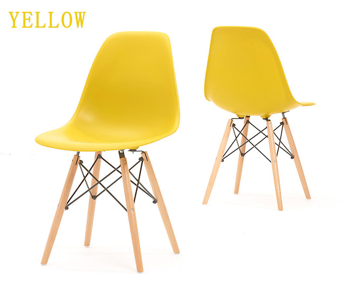 Eames Style Wooden Chair Yellow