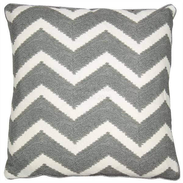 Grey Zigzag Cushion Filled