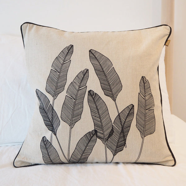 BLACK PALM PRINT CUSHION