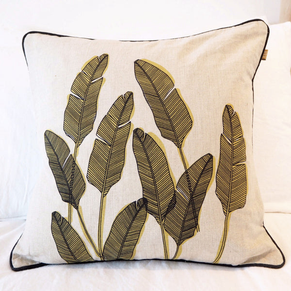 CHARTREUSE PALM PRINT CUSHION