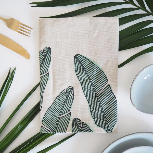 SET OF FOUR MINT PALM PRINT NAPKIN