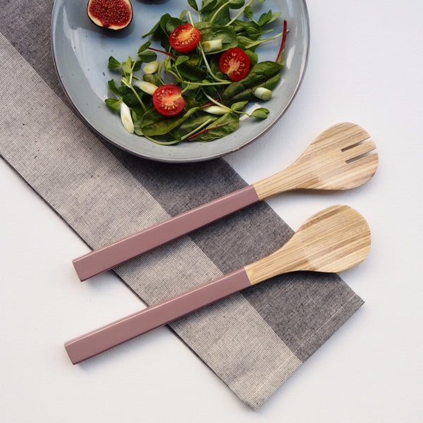 MAUVE BAMBOO SALAD SERVERS