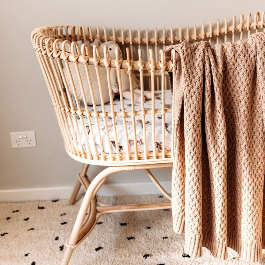 Snuggle Hunny - Hazelnut - Diamond Knit Baby Blanket