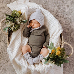 Snuggle Hunny - Grey Merino Wool - Bonnet & Booties Set