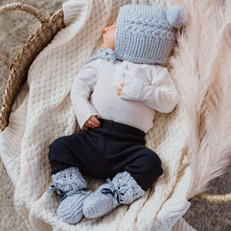 Snuggle Hunny Kids - Blue Merino Wool - Bonnet & Booties Set