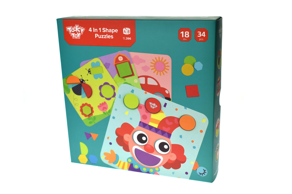 Tooky Toy - 4 in 1 Shape Puzzle - Age 18 M+