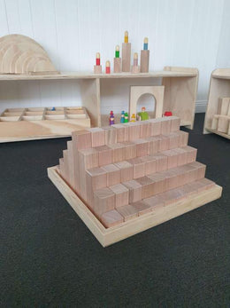 The Wooden Toy Co - Building Blocks 81 Piece, Building Platforms & Archway Set