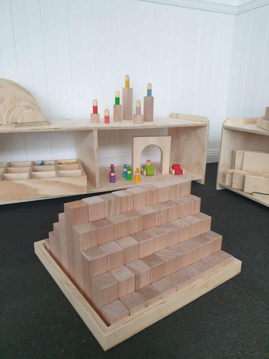 The Wooden Toy Co - Building Blocks 81 Piece & Archway Set x3